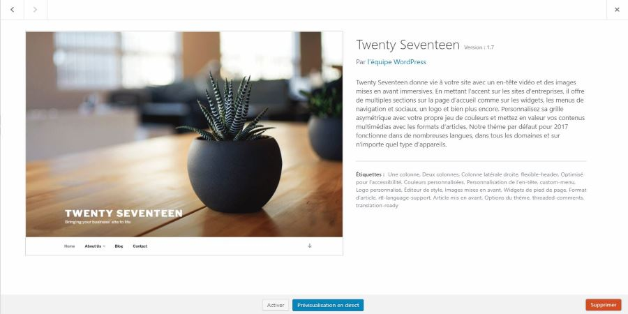 desinstaller theme wordpress