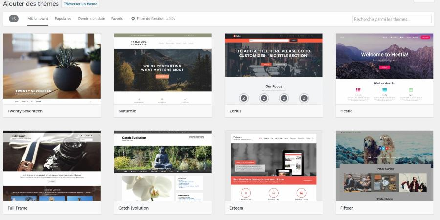 installer un theme gratuit depuis wordpress